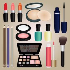 Set of Cosmetics and Make Up Brush