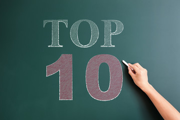 top 10 written on blackboard
