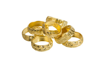 golden rings isolated on white