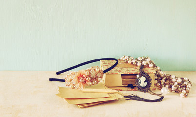 A collection of romantic vintage jewelry. retro filtered image.