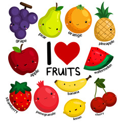i love fruits (no background)