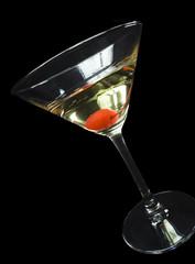 wine champagne cherry - black background