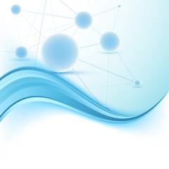 Modern science folder swoosh blue template