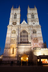 Westminster Abbey at night, London, England, UK...