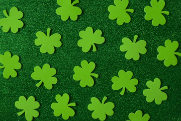 Green Clovers or Shamrocks  on Green Background Background for S