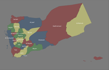 Highly detailed political Yemen map
