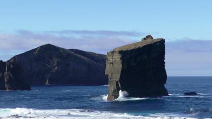 Waves Atlantic Ocean Breaking onto High Rocks near Mosteiros
