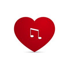 Vector Love Heart Music Note