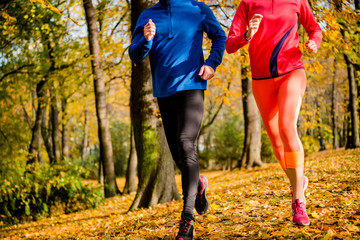 Couple running in nature