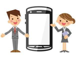 ビジネスマンとビジネスウーマンとスマートフォン