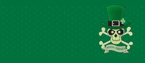 100% Irish.Green lucky Irish skull vector illustration