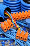 Blue cables and electrical component poster