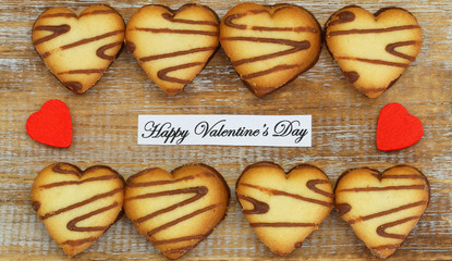 Happy Valentine's Day card with heart shaped cookies