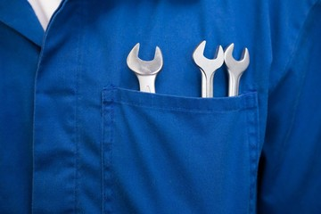 Mechanic with wrenches in pocket