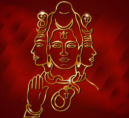 illustration of Hindu deity lord Shiva with red satin effect
