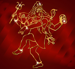 Hindu deity lord Shiva on a satin  red background vector eps-10