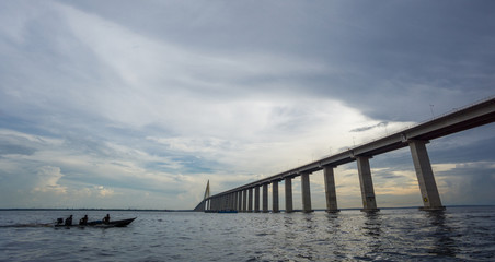 The center of Manaus Iranduba Bridge and boat