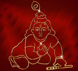 Little Krishna with flute,hindu god krishna artwork vector