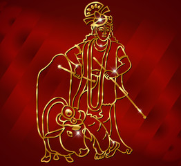 Krishna with goldenartwork with flute and cow on red background