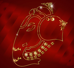 Diwali card design, diya on ganesha red background