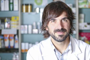 closeup of a male pharmacist.