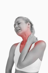 Young woman with severe neck pain