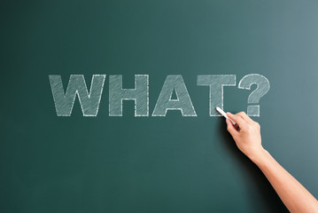 question what written on blackboard