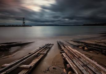 Long exposure sea sunrise near Varna, Bulgaria