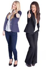 Thumbs up - two women showing gesture -isolated on white