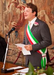 An italian mayor during a wedding celebration
