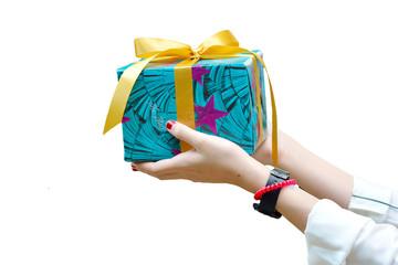 Women filed a gift box