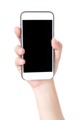 Isolated female hands holding the phone