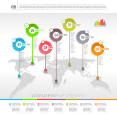 World map infographic with map pointers