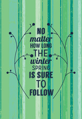 Inspiring spring poster with motivating quote
