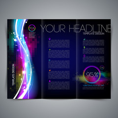 Template page design, leaflet with colorful abstract shape