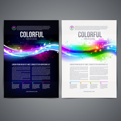 Business template page design with colorful abstract shape
