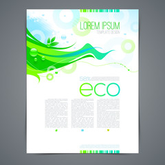 Eco template page design with abstract green shape