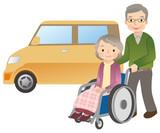 Fototapety 車椅子に乗る高齢者 夫婦 老老介護