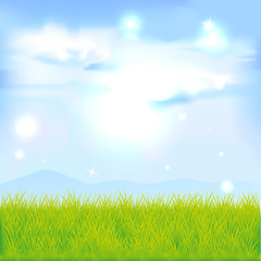 landscape with green grass and blue sky - vector illustration