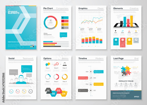 Infographic flyer and brochure designs and web templates vectors - 76352866