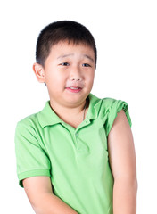 A fearful boy wearing green t-shirt  look at his left side