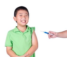 A fearful boy wearing green t-shirt  be afraid syringe.