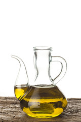 Extra virgin olive oil in a glass jar