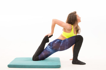 girl doing stretching exercises