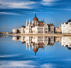 Parliament with Danube river in Budapest, Hungary