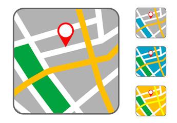 Pictograma mapa en varios colores