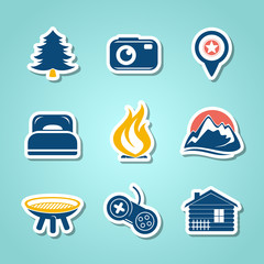 Travel and outdor paper icons