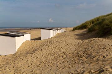 Strandkabinen, Strand, Dünen, holländische Nordseeküste