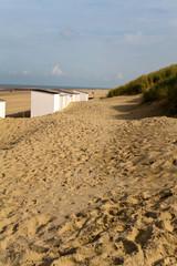 Strandkabine, Strand, Dünen, niederländische Nordseeküste