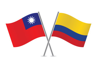 Colombian and Taiwanese flags. Vector illustration.
